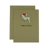 Dog Christmas Cards with Santa Hat 10 Pack - Vintage Snowflake Pattern - Dog Silhouette Christmas Cards - Embellish by Jackie