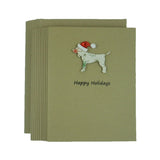 Dog Christmas Cards with Santa Hat - Vintage Snowflake Pattern - Dog Silhouette Christmas Cards