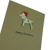 Dog Christmas Cards with Santa Hat - Vintage Snowflake Pattern - Dog Silhouette Christmas Cards - Embellish by Jackie