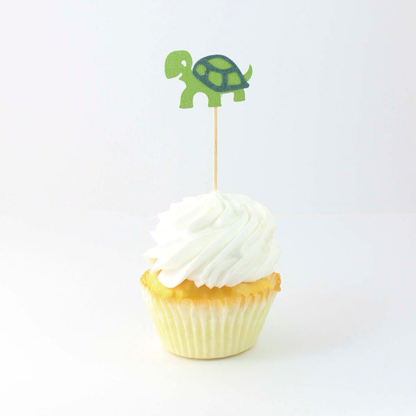 Turtle Cupcake Toppers Set of 12 | Sea Turtle Birthday Decorations | Party Décor | Baby Shower - Embellish by Jackie