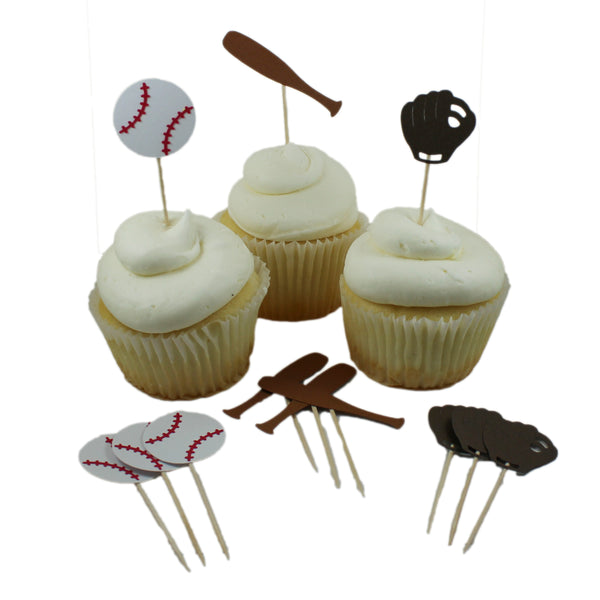 Baseball theme Cupcake Toppers Collection set of 12 Baseball themed Cupcake Topper sports Baseball Glove bat and ball Boy Birthday Party - Embellish by Jackie