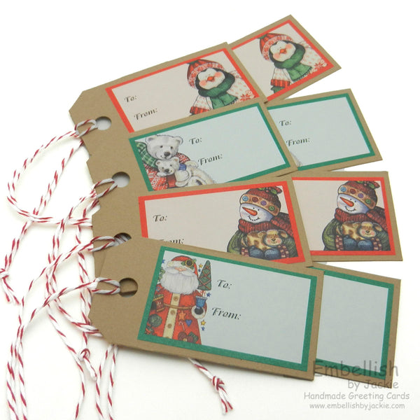 Christmas Tags - Handmade - Set of 8 - Embellish by Jackie