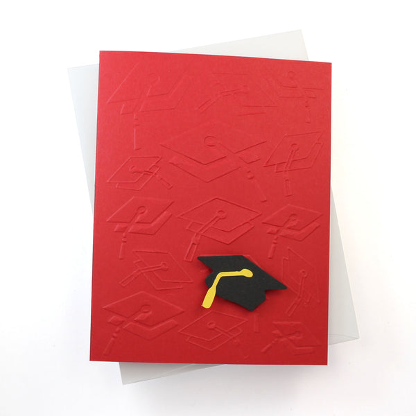 Textured Graduation Greeting Card Single | Embossed Notecard with Graduation Cap