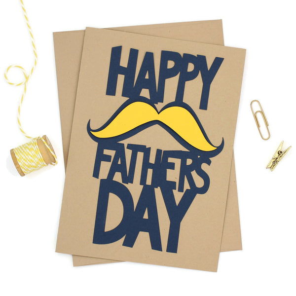 Mustache Fathers Day Card Handmade Greeting Card for Fathers Day Card for Happy Father's Day Card Kraft Paper 5x7 Blue and yellow Dads Day - Embellish by Jackie