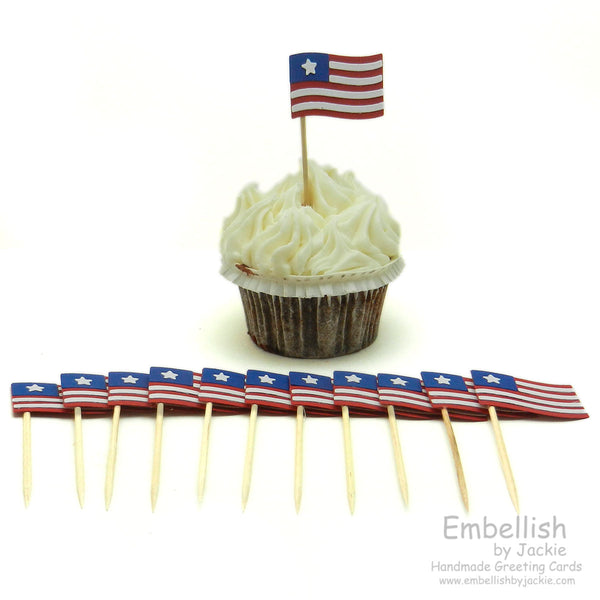 Flag Cupcake Topper - Set of 12 - American Flag - Embellish by Jackie