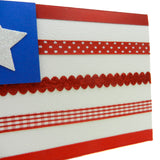 Handmade American Flag Greeting Card Blank Inside Red Ribbon Stripes with Glittered White Star 4th of July - Embellish by Jackie
