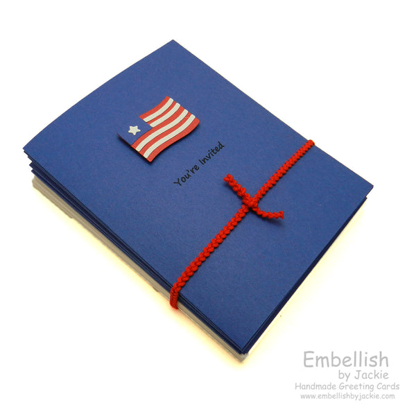 Handmade 4th of July Invitations - Flag - 10 Pack - Embellish by Jackie