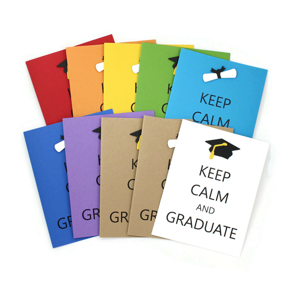 Keep Calm and Graduate Greeting Card | Handmade Graduation Notecards | Choose Color | Graduation Cap or Diploma