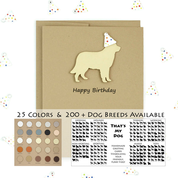 Dog Birthday Card | 200+ Dog Breeds to Choose from | 25 Dog Colors Available | Choose Inside Phrase | Single Card or 10 Pack| Party Hat