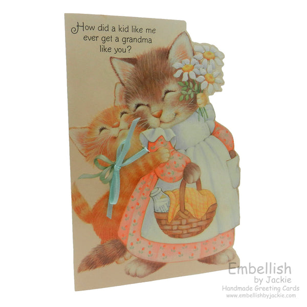 Grandparents Day Card - For Grandmother - Cat - Handmade - Recycled - Embellish by Jackie