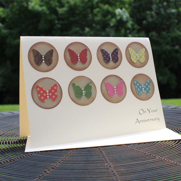 Handmade Wedding Anniversary Greeting Card with kraft Circles and Colorful Butterflies Gem