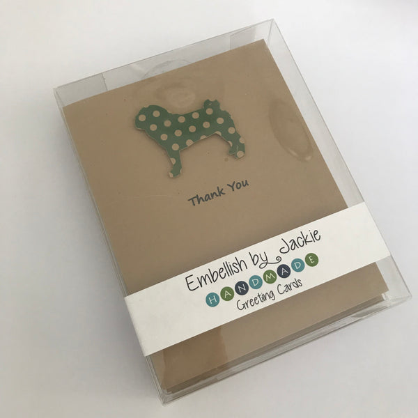 Pug Thank You Cards 10 Pack Green Polka Dot Patterned Dog