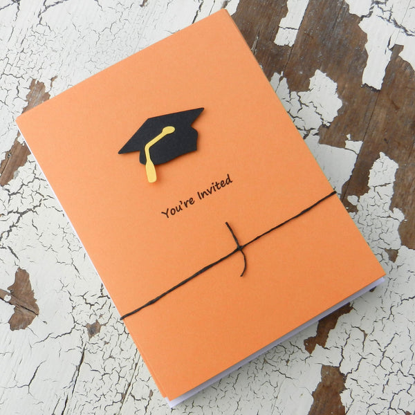 Orange Graduation Invitations Pack of 10 Graduation Cap and Diploma Graduation - Embellish by Jackie