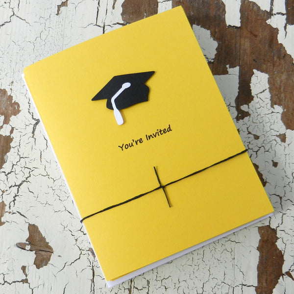 Yellow Graduation Invitations Pack of 10 Graduation Cap and Diploma Graduation - Embellish by Jackie