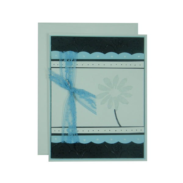 Light Blue Flower Mother's Day Card - Handmade Mother's Day Greeting Card - Black Texture - Embellish by Jackie