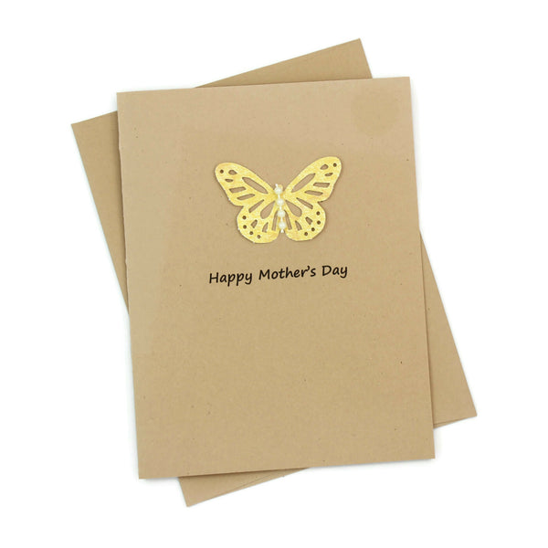 Butterfly Mother's Day Card - Kraft Brown Handmade Card for Mother's Day - Mother's Day Greeting