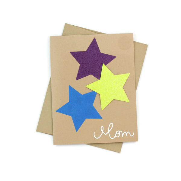 Mom is a Star Greeting Card - Star Mom Card - Mother's Day Card - Kraft with Blue Purple and Green
