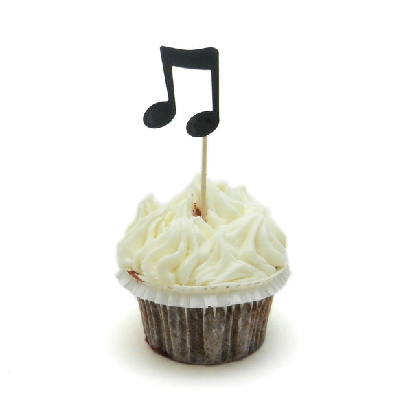 Music Note Cupcake Topper Set of 12 | Birthday Party Cake Topper | Music theme decorations - Embellish by Jackie
