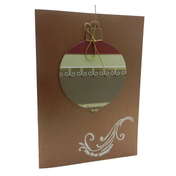 Handmade Ornament Christmas Greeting Card Bronze with Envelope Tis the Season - Embellish by Jackie