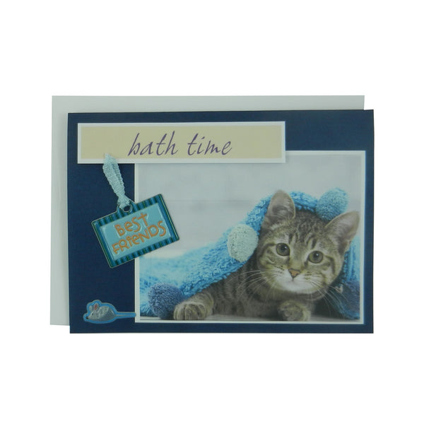 Handmade Cat Greeting Card - bath time - blank cat notecard - cat lover gift - cat lover card