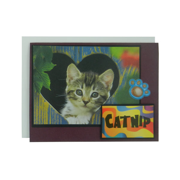 Catnip Cat Lover Greeting Card Blank Cat themed card cat paw handmade cat greeting card - Embellish by Jackie