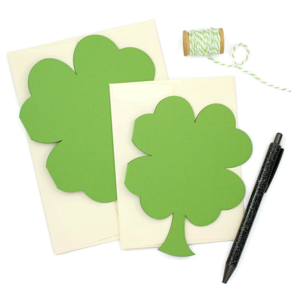 St. Patrick's Day Greeting Card | Laser Die-cut Green Shamrock | 2 Sizes Available | Handmade St Patricks Notecard | Single Card or 10 Pack