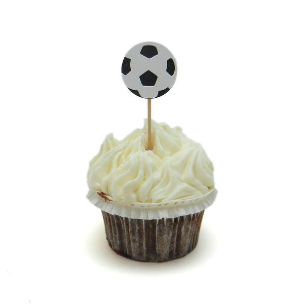 Soccer Ball Cupcake Topper 12 pack Soccer Birthday Party Cake Topper Sport Soccer Party Soccer Team Party Soccer Baby Shower