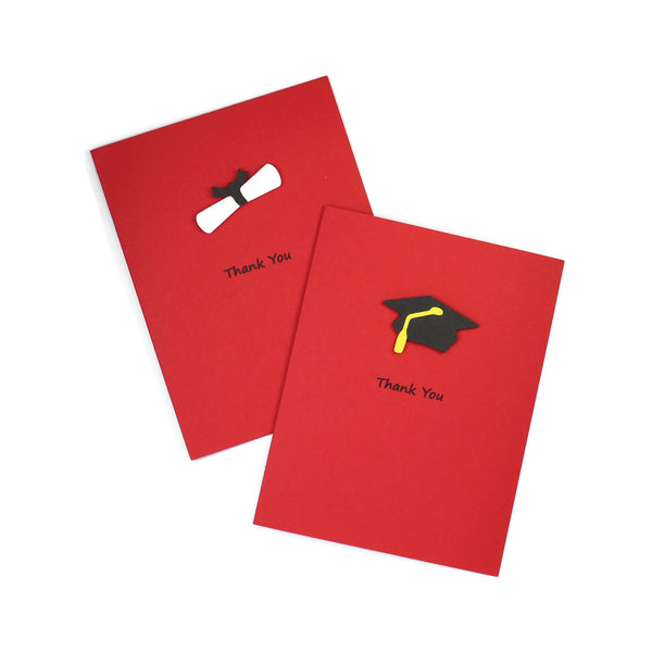 Graduation Thank You Cards | Handmade Grad Cap or Diploma Notecards | 9 colors to choose from | Pick inside phrase