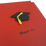 Red Graduation Thank You Cards Pack of 10 | Handmade Graduation Cap & Diploma Note Cards | Envelopes - Embellish by Jackie