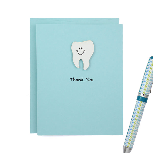 Pastel Blue Tooth Thank You Notecard | Handmade Dentist Greeting Cards | Tooth with Smile | Single or 10 Pack | Choose Front and Inside Phrases