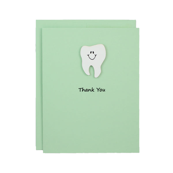 Pastel Green Tooth Thank You Notecard | Handmade Dentist Greeting Cards | Tooth with Smile | Single or 10 Pack | Choose Front and Inside Phrases