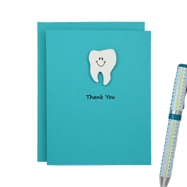 Teal Tooth Thank You Notecard | Handmade Dentist Greeting Cards | Tooth with Smile | Single or 10 Pack | Choose Front and Inside Phrases