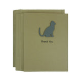 Gray Cat Thank You Card 10 Pack or Single Card Cat Greeting Card Set of Cards Kraft Cards - Embellish by Jackie