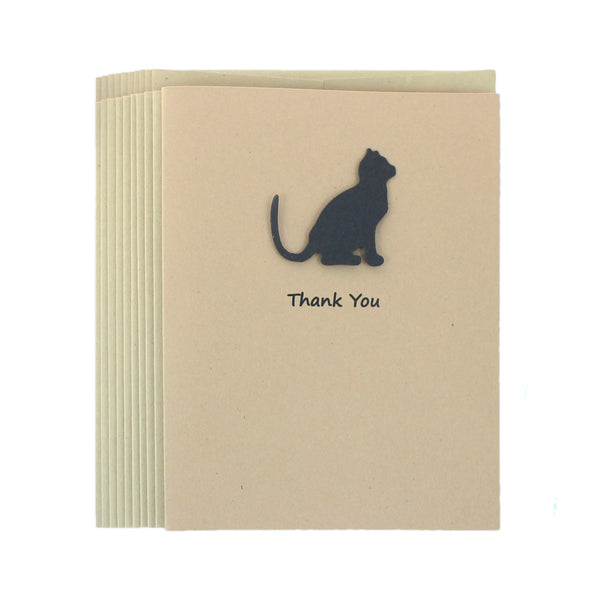 Black Cat Thank You Cards 10 Pack | Handmade Thank You Notecards