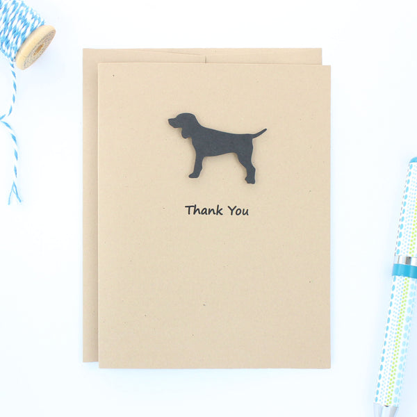 Black Dog Thank You Cards - Handmade Kraft Thank You Note Cards - Standard Dog Greeting Card - Embellish by Jackie