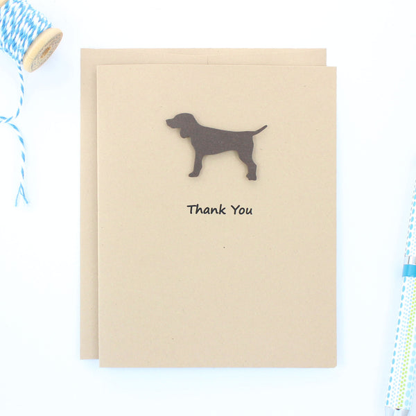 Brown Dog Thank You Cards - Handmade Kraft Thank You Note Cards - Standard Dog Greeting Card - Embellish by Jackie
