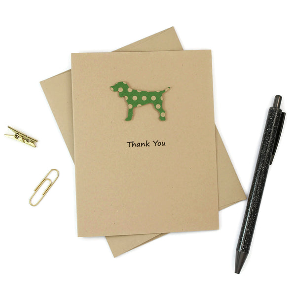 Standard Dog Thank You Notecards Pack of 10 | Handmade Kraft Brown and Green Polka Dot Generic Dog Greeting Cards | Blank Inside |