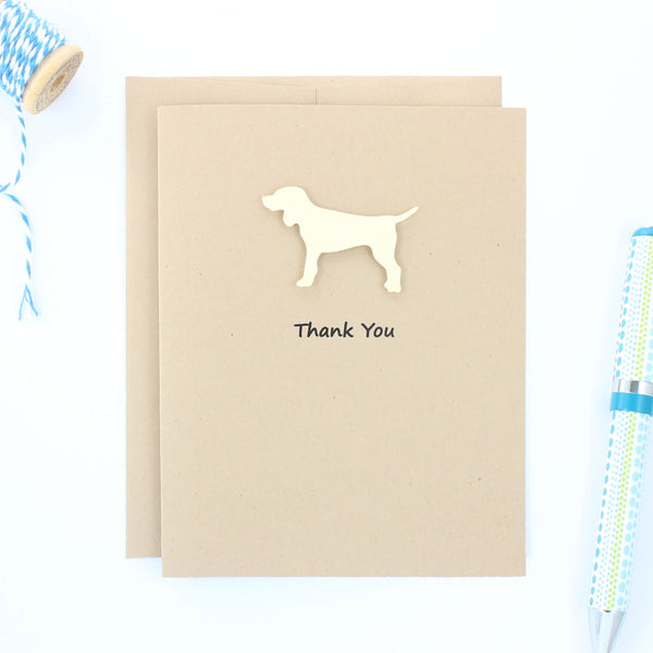 Yellow Dog Thank You Cards - Handmade Kraft Thank You Note Cards - Standard Dog Greeting Card - Embellish by Jackie