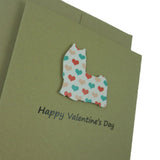 Yorkshire Terrier Dog Valentine's Day Greeting Card 10 Pack with colored hearts Handmade