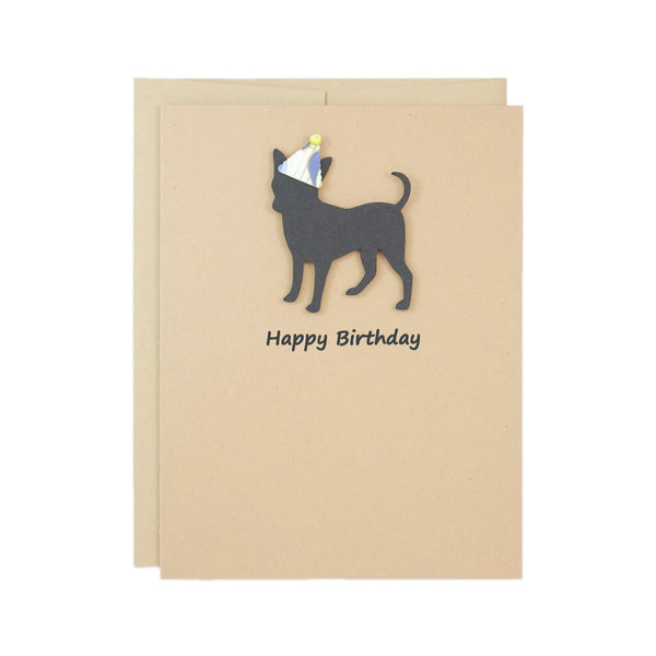 Chihuahua Party Hat Birthday Card | Single or 10 Pack Notecard | Pick Inside | Black Dog Smooth Coat