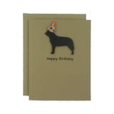 Australian Cattle Dog Birthday Card Pet Birthday Dog Cards Pet Birthday Card Birthday Dog Party hat Dog Lover Card Black Dog Birthday Party
