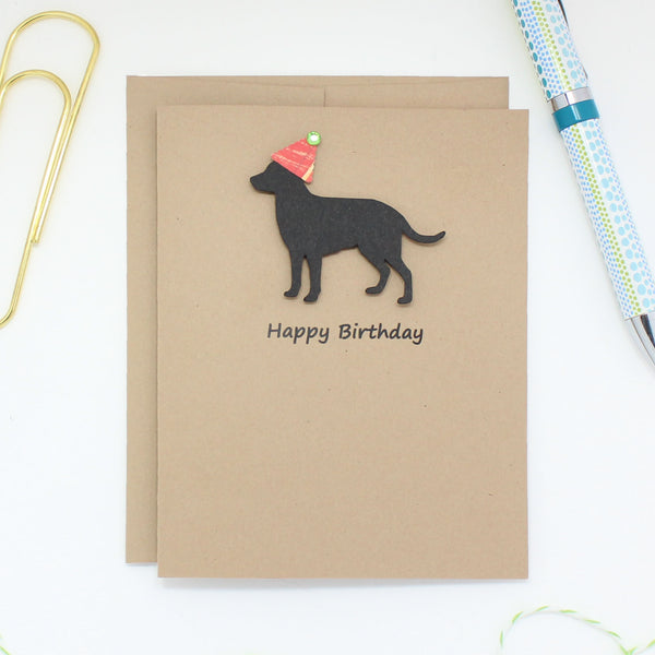 Black Labrador Retriever Birthday Card Handmade Black Dog Birthday Card - Embellish by Jackie