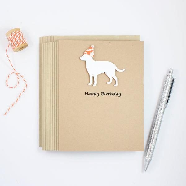 White Labrador Retriever Birthday Cards - Handmade White Lab Birthday Greeting Card - Embellish by Jackie