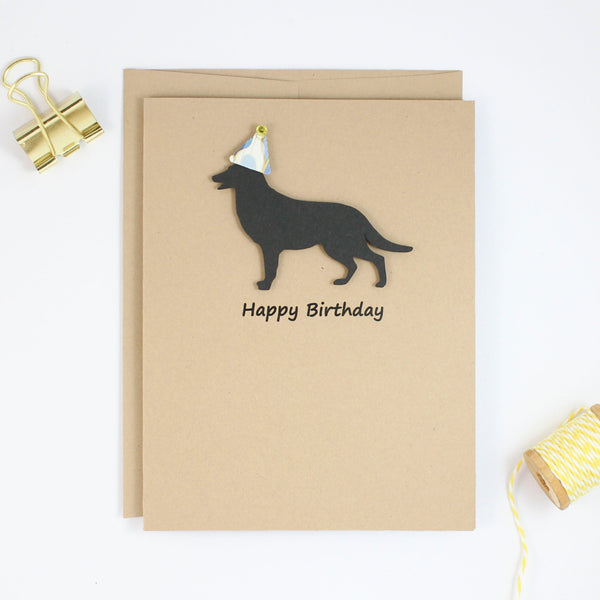 German Shepherd Birthday Cards | Handmade Black Dog Birthday Greeting Card | Choose Inside - Embellish by Jackie