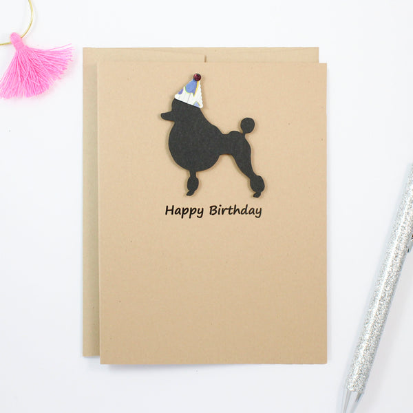 Poodle Birthday Card | Single or 10 Pack Notecards | Party Hat | Toy Miniature Standard Continental