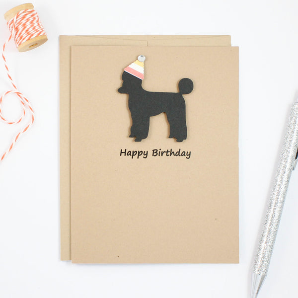 Poodle Birthday Card | Single or 10 Pack Notecards| Party Hat | Toy Miniature Standard Sporting Clip