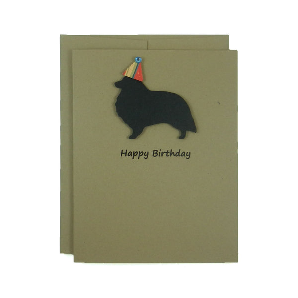Sheltie - Shetland Sheepdog Birthday Cards - Handmade Black Dog Birthday Greeting Card on Kraft