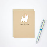 West Highland White Terrier Birthday Cards | Handmade Westie Dog Greeting Card | Single or 10 Pack | Choose Inside