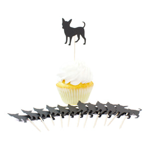 Chihuahua Cupcake Toppers Set of 12 | Black Dog Party Decorations | Cake Topper Birthday Decor