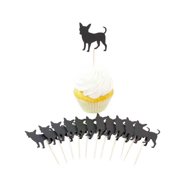 Chihuahua Cupcake Toppers Set of 12 | Black Dog Party Decorations | Cake Topper Birthday Decor 1